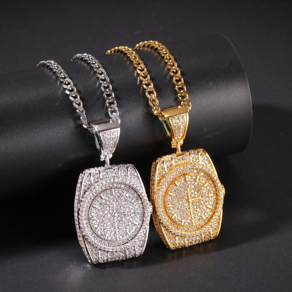 Iced Out Watch Necklace