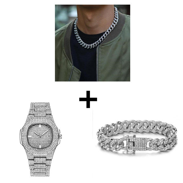 Necklace Watch Bracelet Hip Hop Bling Combo Set