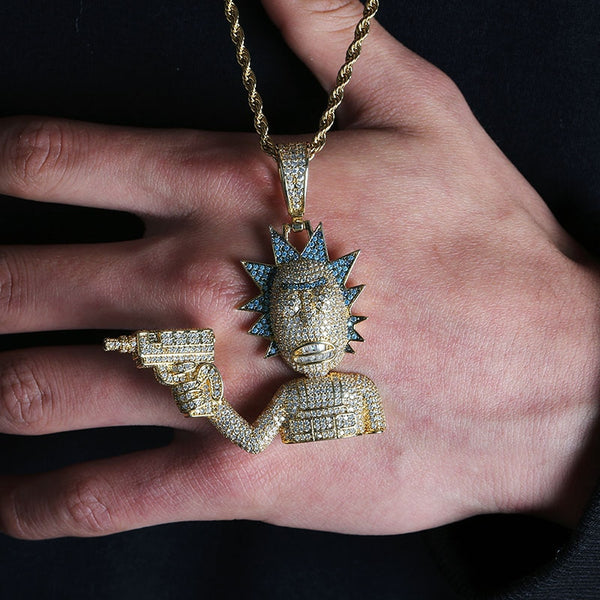 Iced Out Rick & Morty Pendant Necklace