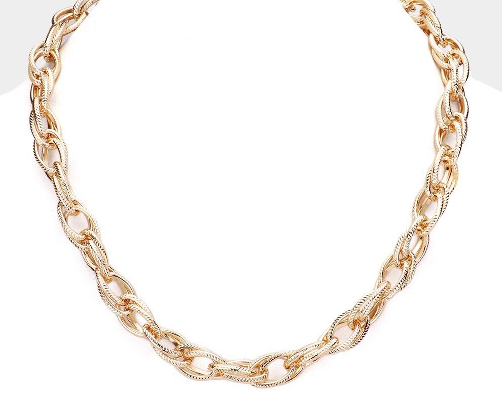 Metal Open Oval Link Necklace