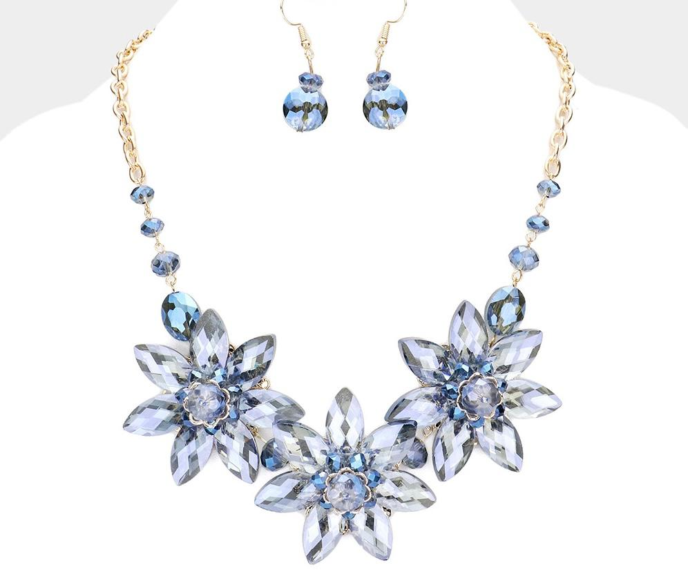 Triple Flower Accented Necklace