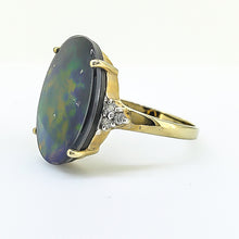 Load image into Gallery viewer, Ammolite & Diamond Ring