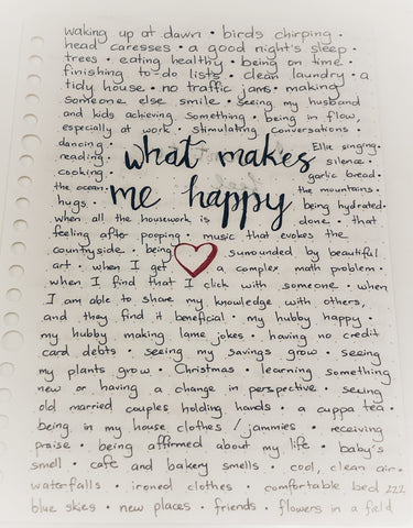 Journaling - what makes me happy
