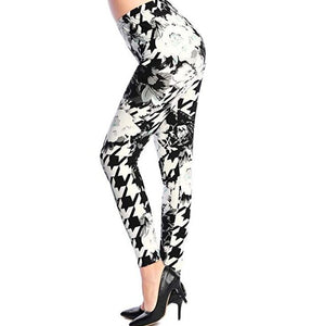 Women's Printed Elastic Leggings (Floral)