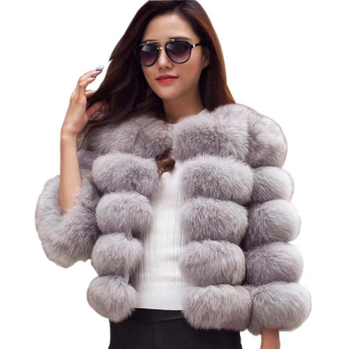 2019 Women's Winter Top Fashion FAUX Fur Elegant Style Coat