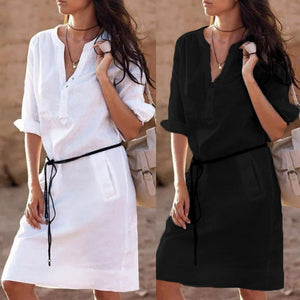 2019 Women's Half Sleeve Stylish Shirt Dress