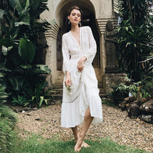 Load image into Gallery viewer, 2019 Summer Women White Tunic Maxi Dress