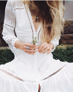 2019 Summer Women White Tunic Maxi Dress