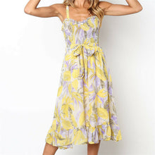 Load image into Gallery viewer, Women's Sexy V Neck Backless Floral Summer Dress
