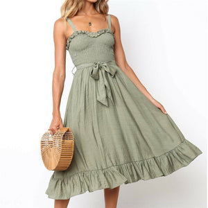 Women's Sexy V Neck Backless Floral Summer Dress