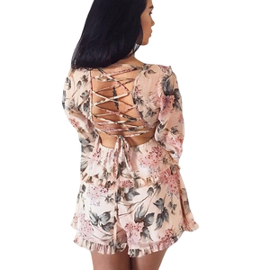 Women's Chiffon Floral Printed Backless  Playsuit  Dress
