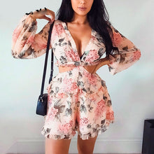 Load image into Gallery viewer, Women's Chiffon Floral Printed Backless  Playsuit  Dress