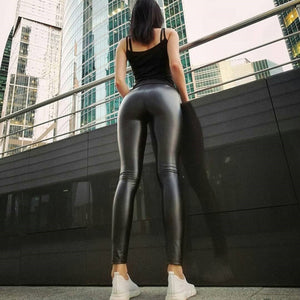 Women's High Waist PU Leather Legging