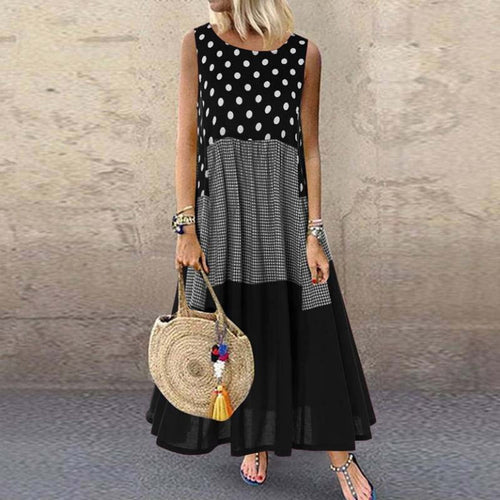 Vintage Patchwork Black Sleeveless Dress 2021