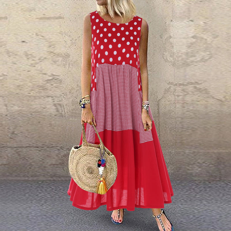 Vintage Patchwork Red Sleeveless Dress 2021