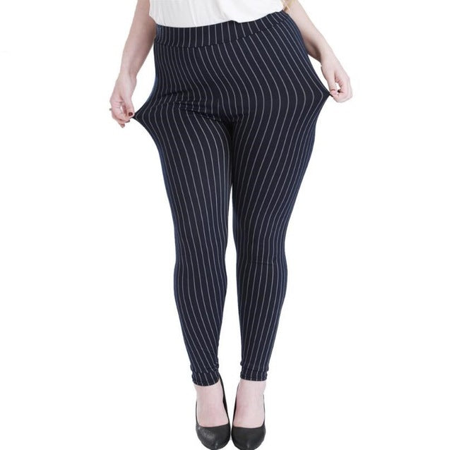 Women's Printed Elastic Leggings (Vertical  black and blue bar)