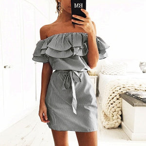 Women's Sleeveless Striped Straight Dresses