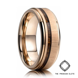 Brushed Golden Koa Wood Tungsten Ring