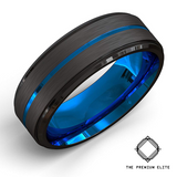Premium Black Brushed Blue Groove Tungsten Ring