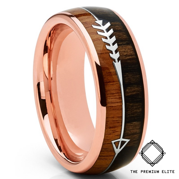Snakewood Koa Wood Tungsten Arrow Ring