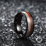 Snakewood Meteorite Black Tungsten Arrow Ring