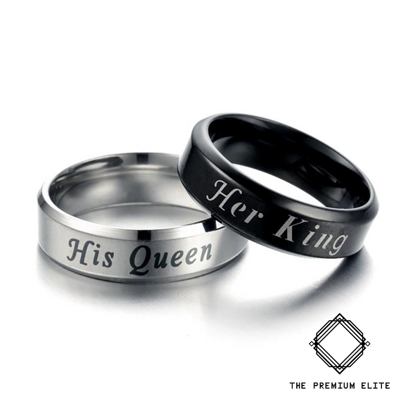 Perfect Gift for Him or Her - His Queen Her King - Stainless Couples Ring