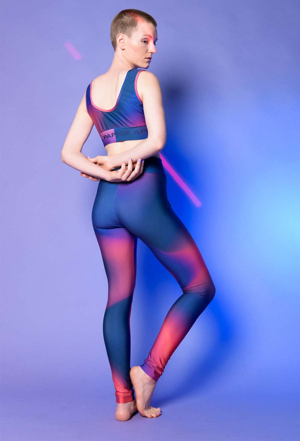 Blue and pink gradient leggings view from the back