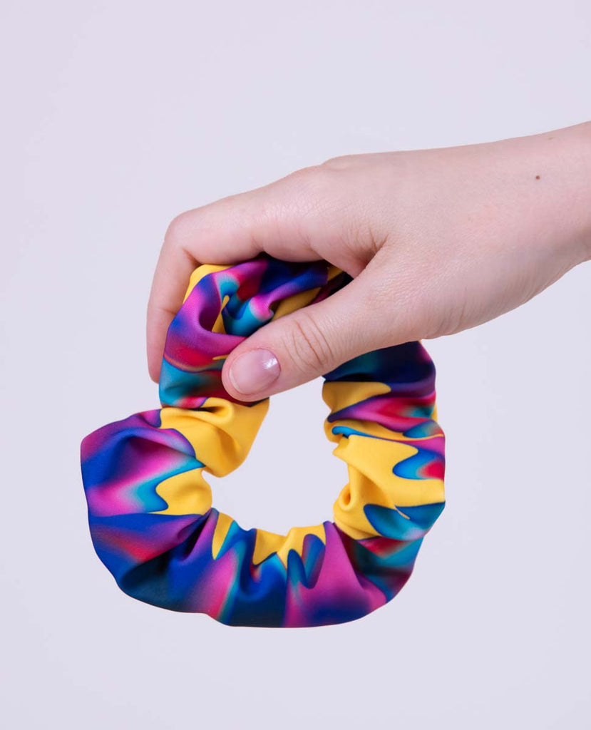 yellow and colorful gradient color scrunchy