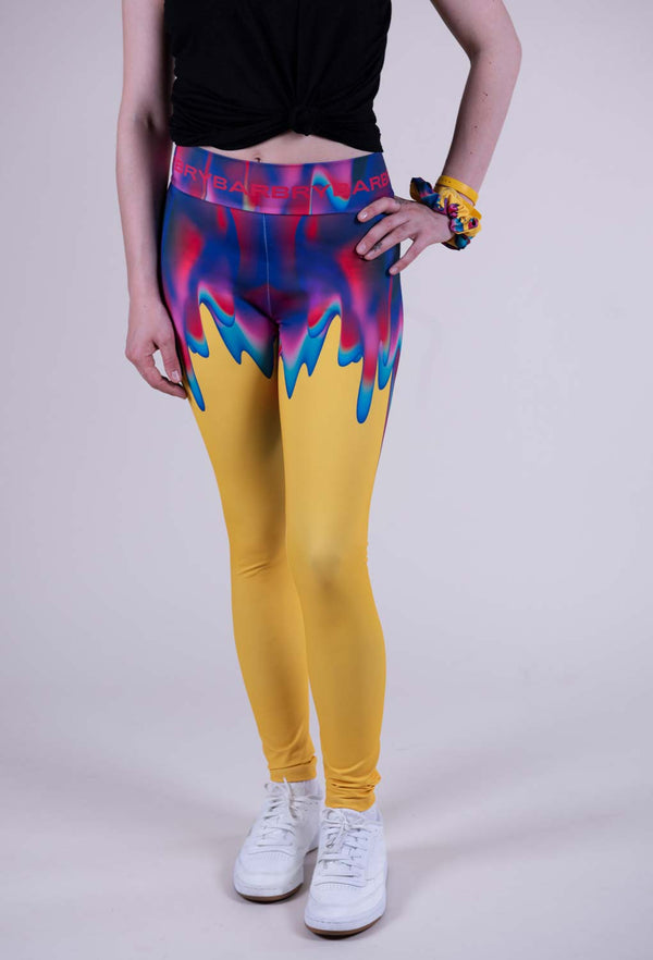Yellow leggings with vibrant blue purple pink green gradient drips