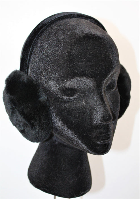 Adjustable Fur Ear Muffs - Beaver Black