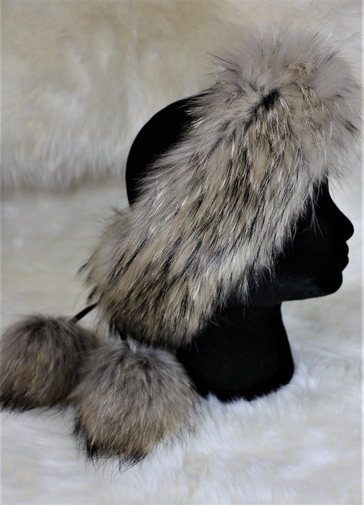 Fur Headbands - With Pom Poms Beige
