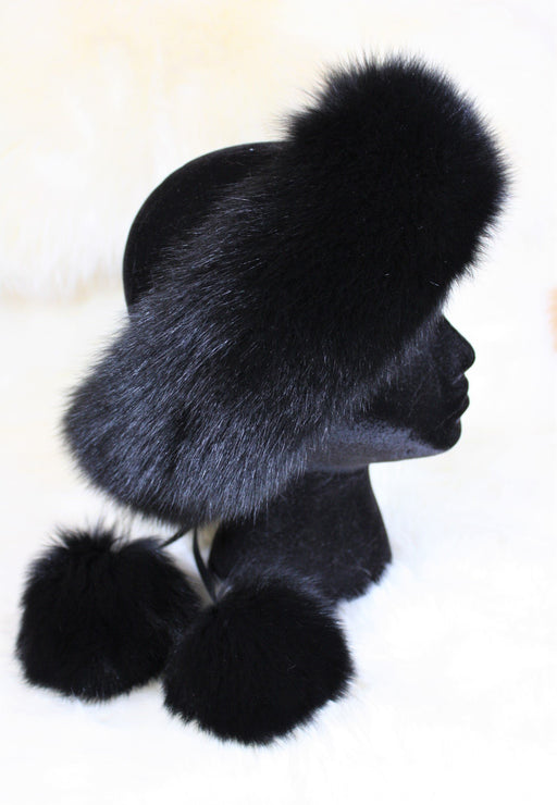 Fur Headbands - With Pom Poms Black