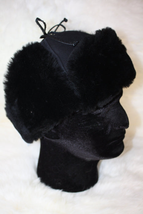 Sheepskin Mountie Hat - Black