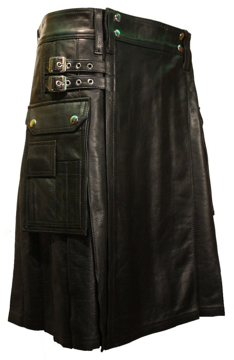 Mens Leather Utility Kilt