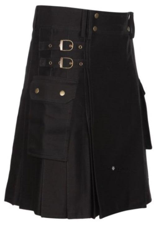 Mens Black Utility Kilt