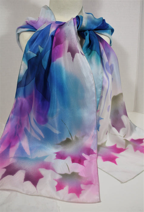 Blue and Purple Scarf with Maple Leaf Motif