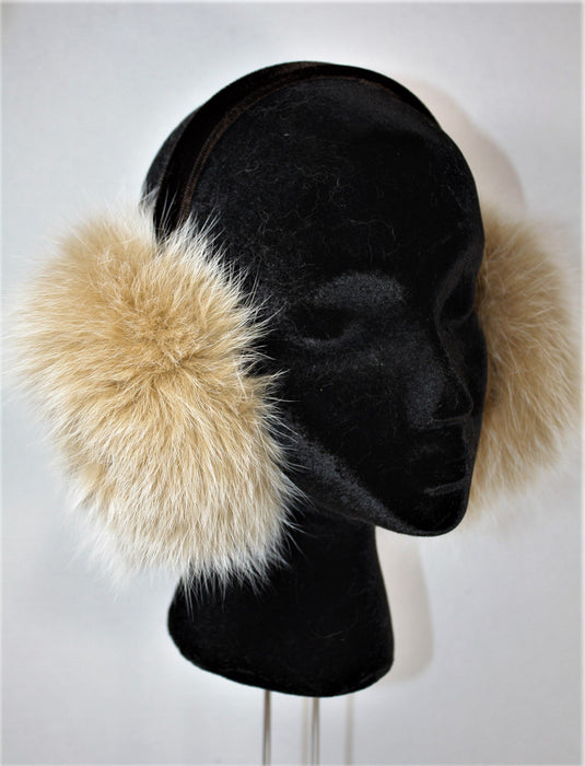 Adjustable Fur Ear Muffs - Fox Beige