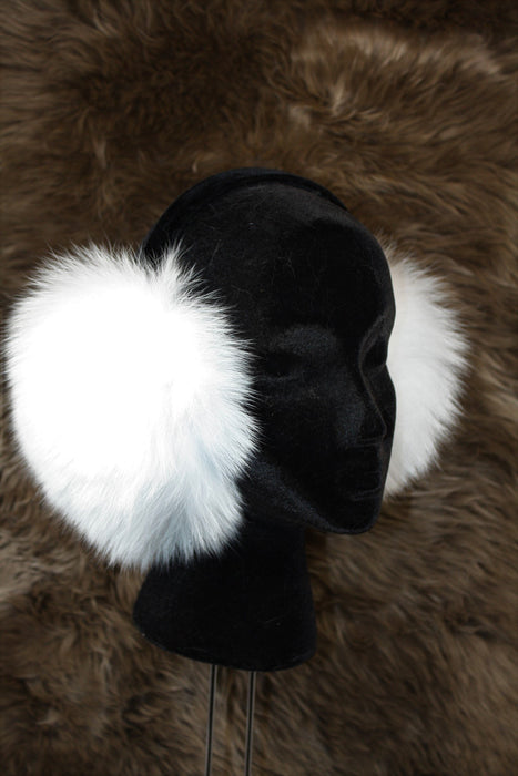 Adjustable Fur Ear Muffs - Fox - White