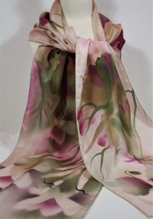 Green and Purple Scarf with Flower Motifs