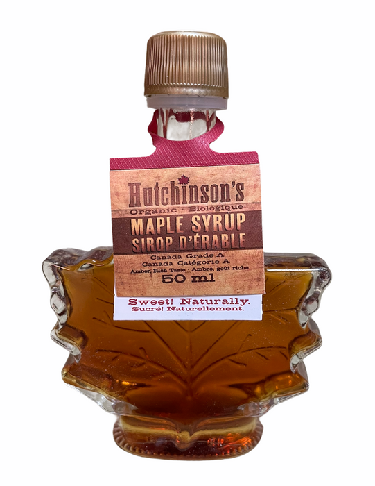 Organic Maple Syrup in Maple Leaf Glass Bottle - 50mL