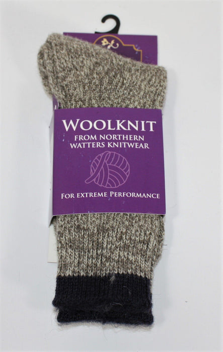Light Natural Tweed Mid Calf Wool Knit Socks