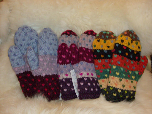 Multi Striped Thrum Mittens