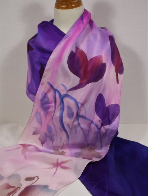 Purple and Violet Scarf with Flower and Maple Leaf Motifs