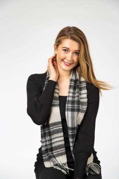 Stewart Grey Dress Lambswool Scarf