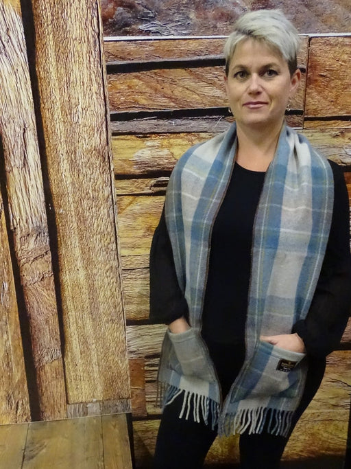 Stewart Muted Blue Pocket Scarf