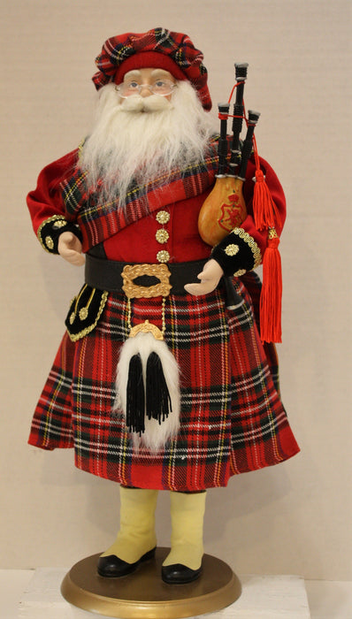 Santa Clause Figure in Red Tartan