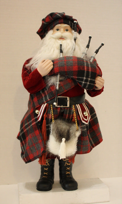 Santa Clause Figure in Red-Charcoal Tartan