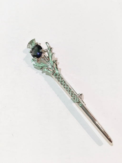 Scottish Thistle with Amethyst Pewter Kilt Pin
