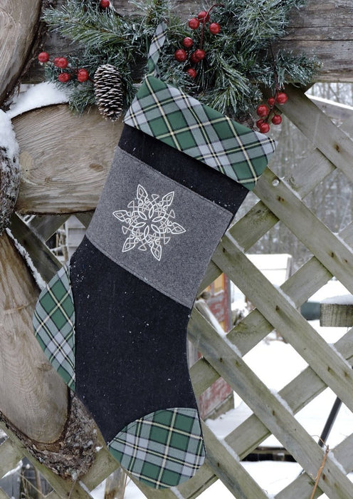 Tartan Embroidered Christmas Stocking