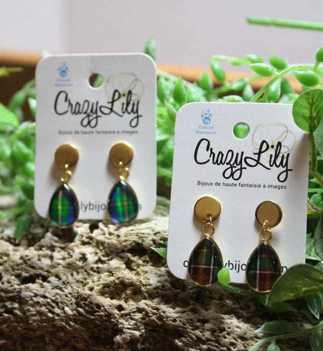 Tartan Pendant Drop Earrings